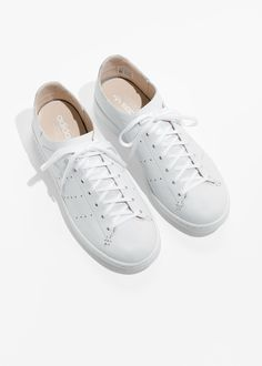 wholesale dealer 6e959 5c7ce Back image of Stories in white Adidas Stan Smith, Leather Socks, Fall Shoes,