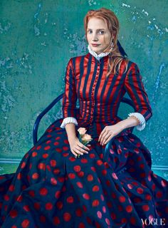 """Jessica Chastain, photographed by Annie Leibovitz for Vogue, Dec 2013. inspired by """"La Mousmé"""" by Vincent van Gogh, 1888."""