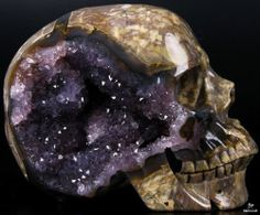 "STUNNING AMETHYST GEODE TITAN 6.6"" DINOSAUR EGG AGATE Carved Crystal Skull"