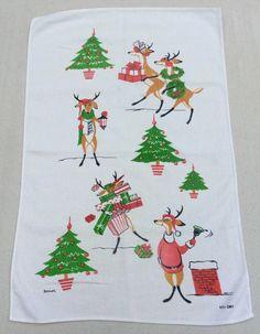 Vintage Christmas Towel Mid Century Reindeer by unclebunkstrunk