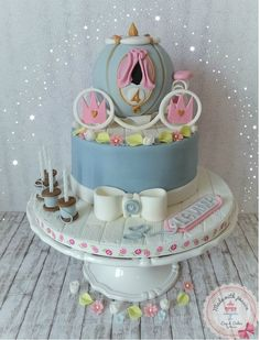 Cinderella is ready for the ball - Hello lovely cake friends,  I made this cake for my colleague, the only specification of her was for the cake princess and pink. I did it and my friends I am in love with this cake.  love greetings  Maria