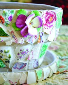 Mosaic flower pot from broken china.