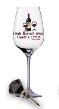 I Feel Better After I Wine A Little - Wine Glass w/ Stopper | Abode and Company. The Wine is Life Wine Glass and Wine-stopper Collection is a perfect stocking stuffer or office party gift.
