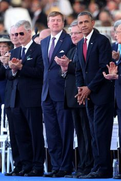 (L-R) King Philippe of Belgium, King Willem Alexander of the Netherlands and Barack Obama attend the International ceremony, 06.06.2014 in Ouistreham, France.