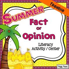 This language arts activity will help your students identify Facts from Opinions. This is such an important reading comprehension skill for the kiddos - it helps develop discernment in all areas of their lives. | by Peggy Means