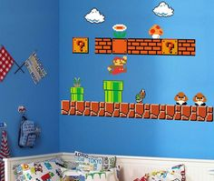Super Mario Wall Decals -   $10.99 - Transform your boring walls into a level from your favorite game with this Super Mario Bros. Wall Decal. These easily to apply Decals come with art exactly as it appears in the classic Nintendo game, so you can recreate your favorite levels on your wall.