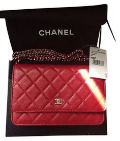 Chanel Wallet On Chain Red Cross Body Bag $2,408