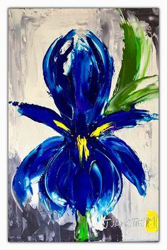 Glorious iris Oil impasto on board  By Juanette Menderoi