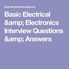 basic electrical electronics interview questions answers note rh pinterest com Electrical Wiring Books Basic Electrical Wiring Diagrams