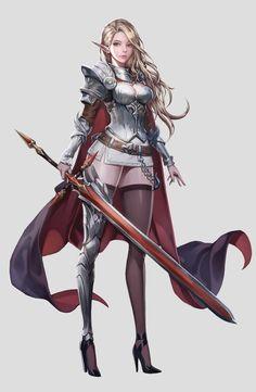 longsword knightress Character Portraits, Character Art, Character Design, Knight, Cool Art, Rpg, Fantasy Characters, Comics, Manga