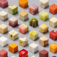 Conceptual design studio Lernert & Sander on the other hand, created their cubes in real-life. Working on a special photography issue about food for Dutch newspaper De Volkskrant in 2014, they cut 98 unprocessed foods into exceedingly perfect 2.5cm cubes.