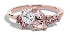 Custom Morganite, Spinel, and Heirloom Diamond Cluster Ring