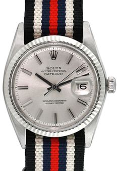 Vintage Rolex Silver-Tone Dial Datejust Watch, 36mm