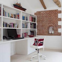 Wohnideen Home Office weiß rot modern Stil-Mischung Backstein Mauer