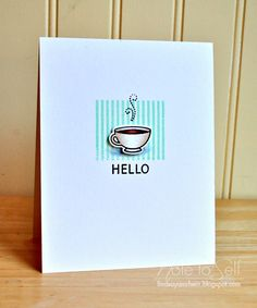 Lawn Fawn - Love You a Latte + coordinating die, Hello Baby _ sweet card by Lindsay at Note To Self: Coffee Hello & World Card Making Day!