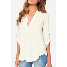 Stylish Plunging Neck 3/4 Sleeve Pure Color Asymmetrical Women's Blouse
