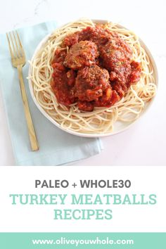 By Caroline Fausel. Mmmm I love meatballs! These Turkey Meatballs Recipe are both Whole30 + Paleo friendly. If you're on Whole30, simply use your favorite vegetable noodles! I recommend sweet potato noodles. Enjoy! - Olive you Whole Whole30 Dinner Recipes, Paleo Dinner, Paleo Whole 30, Whole 30 Recipes, Dairy Free Recipes, Paleo Recipes, Paleo Turkey Meatballs, Vegetable Noodles, Sweet Potato Noodles