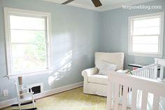 Ten June: Nursery Update: A Freshly Painted Baby Boy's Room {Sherwin Williams Sleepy Blue Nursery Paint Colors, Boy Room Paint, Bathroom Paint Colors, Paint Colors For Home, Bedroom Colors, Wall Colors, Light Blue Paint Colors, Light Blue Paints, Blue Gray Paint