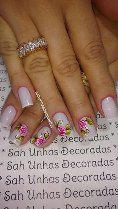 76 Modelos Lindos de Francesinhas com Flores! Veja: Manicure And Pedicure, Spring Nails, Nail Art Designs, Hair Beauty, Make Up, Erika, Basic Nails, Modern Nails, Strong Nails