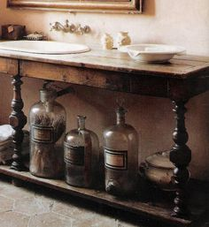 Great for bathroom sink idea, baskets below for towels~linen & lavender: Chateau de Gignac, Image 14