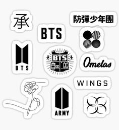 Bts Love Yourself Stickers Pop Stickers, Tumblr Stickers, Printable Stickers, Kawaii Stickers, Bts Army Logo, Kpop Diy, Bts Wings, Bts Merch, Journal Stickers