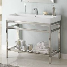 """Empire Industries SB40 South Beach 40"""" Stainless Steel Console Vanity for Milano Ceramic Sink"""