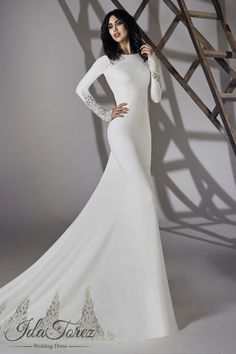 3956a87ea8e3 Modest Trumpet-Mermaid Bateau Natural Court Train Stretch Crepe Ivory Long  Sleeve Open Back Wedding Dress 01064