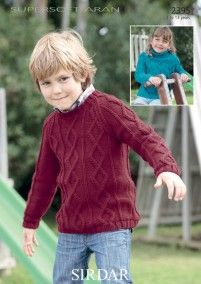 Boys and Girls Sweaters in Sirdar Supersoft Aran - 2395 Boys Knitting Patterns Free, Sweater Knitting Patterns, Knitting For Kids, Baby Knitting, Aran Jumper, Cable Sweater, Dog Sweater Pattern, Jacket Pattern, Boys Sweaters