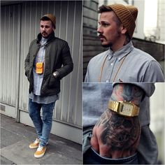 Get this look: http://lb.nu/look/4713723  More looks by Chris Kross: http://lb.nu/chriskross  Items in this look:  Carhartt Beanie, Carhartt Shirt, Casio Watch, Vans Shoes, Urban Outfitters Jacket, Monki Bag, River Island Jeans