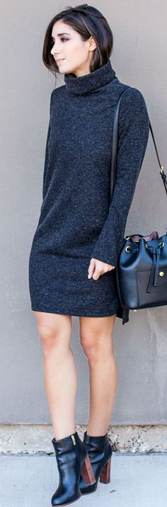 I recently ordered a grey turtleneck dress like this one The Darling Detail is wearing--also, I love her bucket bag!
