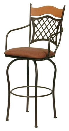 Trica Wood & Metal Raphael II Bar Stool w/ Swivel