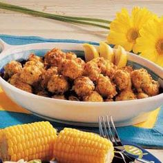 """Fried Fish Nuggets  """"My family always requests these cheesy fish bites during our annual fishing trip in Canada,"""" reports Lynn Negaard of Litchfield, Minnesota. You can use most any leftover fish with tasty results."""