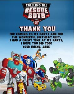 Rescue Bots Transformers Birthday Party Thank You Note Cards Personalized Custom Transformers Birthday Parties, Boy Birthday Parties, Birthday Party Invitations, 4th Birthday, Birthday Ideas, Transformer Party, Birthday Thank You Cards, Thank You Note Cards, Rescue Bots Birthday