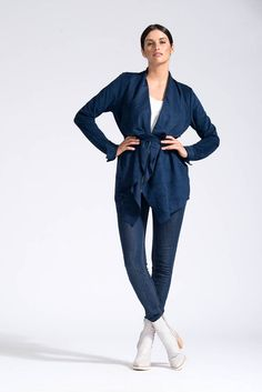 Vegan Suede Waterfall Jacket in French Navy - Bohemian Traders Pty Ltd