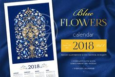 2018. Blue Flowers Calendar Vol.2 by O'Gold! on @creativemarket