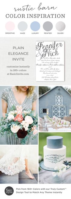 The most adorable wedding color inspiration you will see all day! The Plain Elegance invitation in smoothie, luxury, and pewter will give you all the heart eyes!