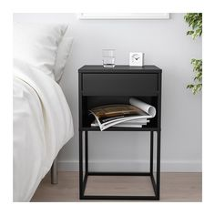 VIKHAMMER Nightstand - black - IKEA Find affordable home furnishings and furniture, all in one store. Shop quality home furniture, décor, furnishings, and accessories. Ikea Bedroom, Home Bedroom, Bedroom Furniture, Home Furniture, Bedroom Decor, Bedroom Table, Bedroom Sets, Master Bedroom, Furniture Design
