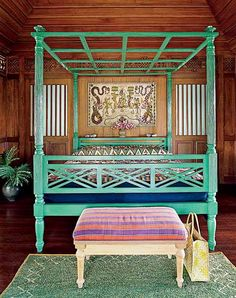 Exotic Balinese Decor, Indonesian Art and Bali Furniture for Tropical Decorating- I need this bed frame in my life! Boho Chic Bedroom, Bohemian Chic Decor, Architectural Digest, Home Bedroom, Bedroom Decor, Bedroom Colors, Bedroom Ideas, Balinese Decor, Indonesian Decor