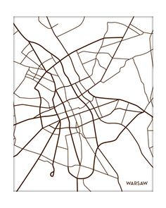 Warsaw City Art Map Print / Poland Map Poster by jennasuemaps, $18.00