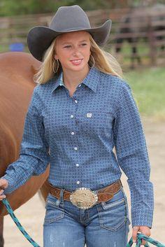 Cinch Women's Navy Patterned Long Sleeve Shirt – Keffeler Kreations | HilltopBoutique.com