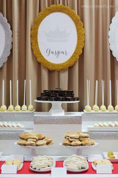 Nice party fiesta jubilaci n blanco y negro mesa de dulces for Decoracion para reyes