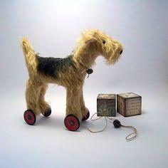 little Lakeland Terrier on vintage Meccano by northfieldprimitives, £35.00