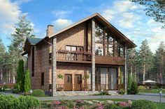 Проект жилой дом #40-31 материал - кирпич, стиль современный Cabin, House Styles, Projects, Home Decor, House, Log Projects, Blue Prints, Decoration Home, Room Decor