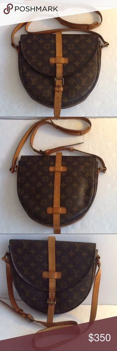 Authentic Louis Vuitton Chantilly Crossbody Bag. Leather and straps showed signs of used. The canvas and inside linen are good. The bag was made in France with a date code 8907- VL. The dimension is 2.5, 9 and 9.5. Louis Vuitton Bags Crossbody Bags