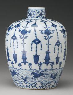 A BLUE AND WHITE JAR, JIAJING MARK AND PERIOD