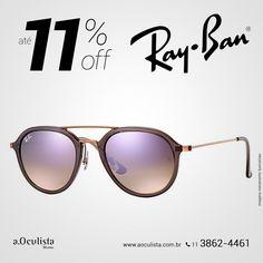 Óculos de Sol Ray Ban com Até 11% de desconto.  Compre em Até 10x Sem Juros e frete grátis nas compras Acima de R$400,00  Acesse: www.aoculista.com.br/ray-ban  #rayban #glasses #oculos #eyeglasses #sunglasses