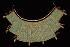A pectoral of gold and turquoise beads, Ancient Peru, ca 1AD-800 AD
