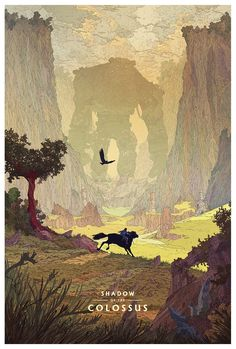 Official Shadow of the Colossus art print by artist Kilian Eng. Commissioned by art gallery Cook and Becker and Sony Japan Studio/Team Ico. Shadow Of The Colossus, Kilian Eng, Pop Culture Art, Video Game Art, Dark Souls, Videogames, Pixel Art, Amazing Art, Fantasy Art