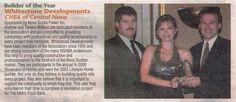 "flashback to 2003 when Whitestone Developments won our first Nova Scotia Home Builders' Association ""Builder Of The Year"" award. Home Builders Association, Nova Scotia, Over The Years, Awards"