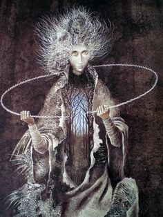 """By Remedios Varo. I just realized how much this painting epitomizes the picture I have in my mind of """"the gentleman with thistle-down hair"""" from Jonathan Strange & Mr. Norrell. Amazing!"""